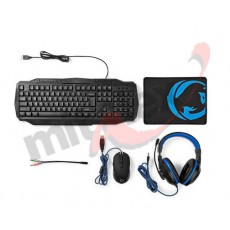 NEDIS Gaming Set 4-u-1 | Tipkovnica, Slušalice, Miš i Podloga (GCK41100BKUS)